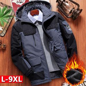 男士秋冬季爸爸装加绒加厚棉衣羽绒棉服中老年男装冲锋衣大衣外套