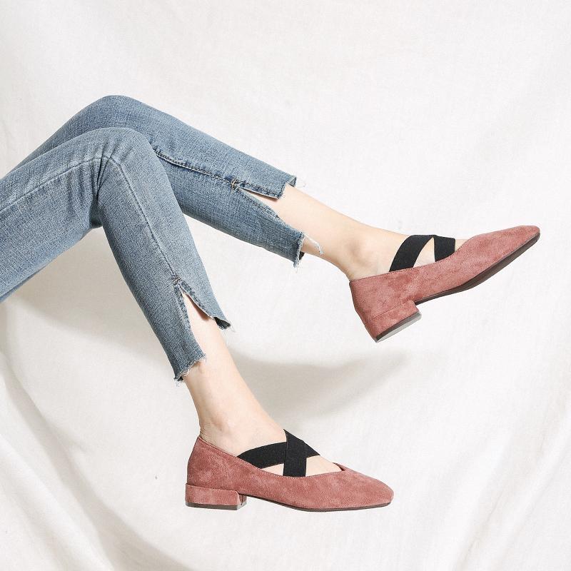 女鞋2019新款夏款小ck玛丽珍奶奶鞋中跟粗跟豆豆鞋单鞋女平底百搭
