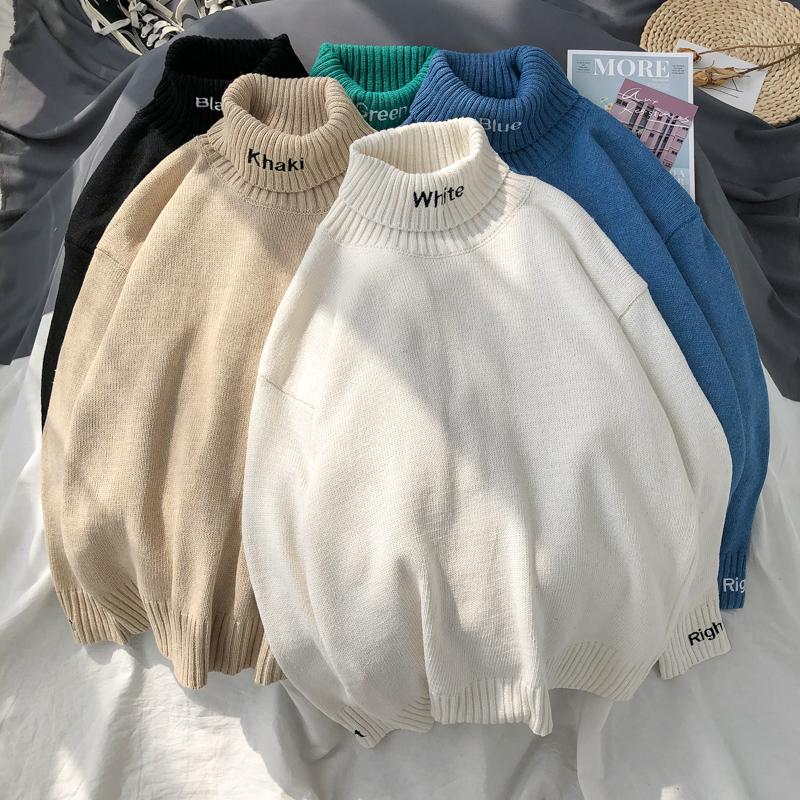 秋冬季新款港风纯色毛衣男士韩版宽松可翻高领针织衫情侣外套上衣