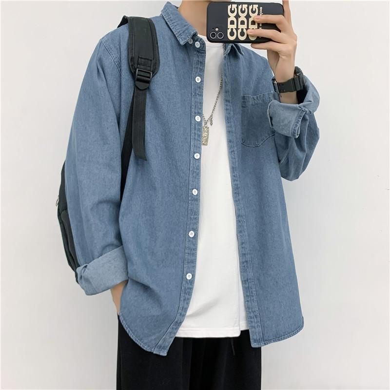 Denim jacket Harajuku style Korean fashion trend young men's workwear shirt Spring and autumn loose Hong Kong style casual jacket