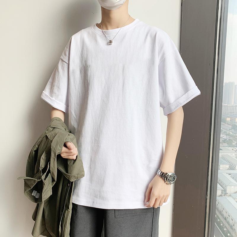 夏季纯色短袖T恤男士潮牌纯棉半袖宽松体恤港风百搭ins潮男生衣服
