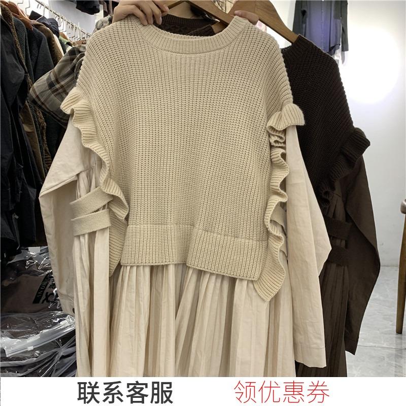 小魔女2019秋冬木耳边荷叶边娃娃裙(非品牌)