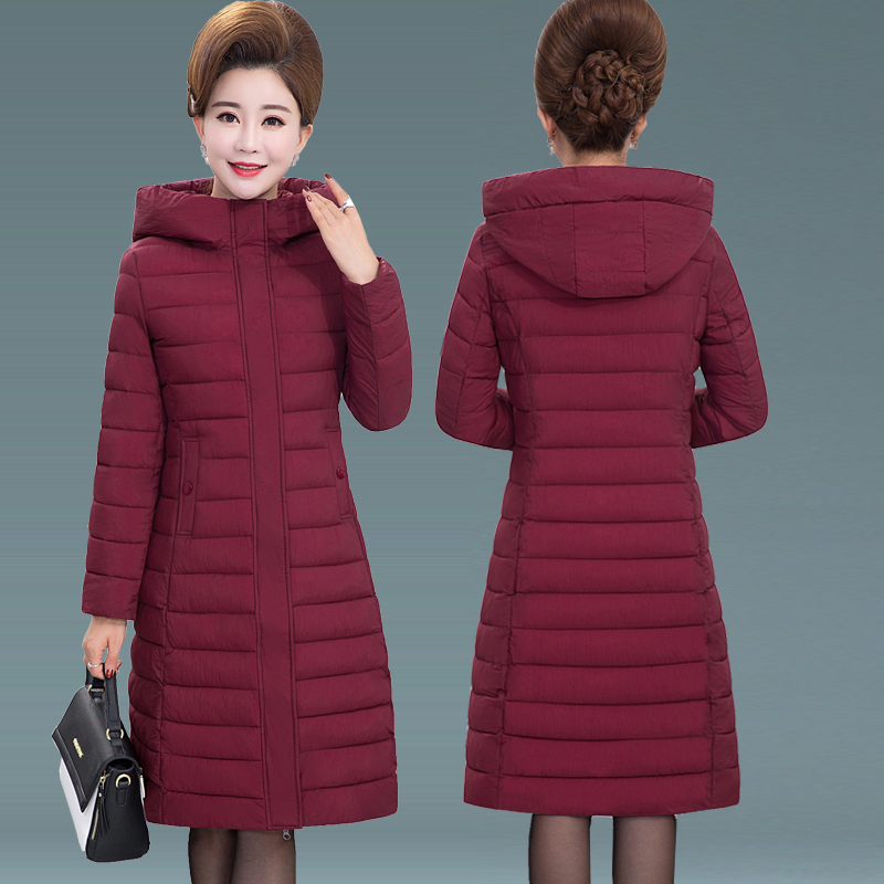 Middle aged and old peoples light cotton padded clothes, womens large size mothers cotton padded jacket, winter clothes, middle-aged womens medium and long down cotton padded clothes