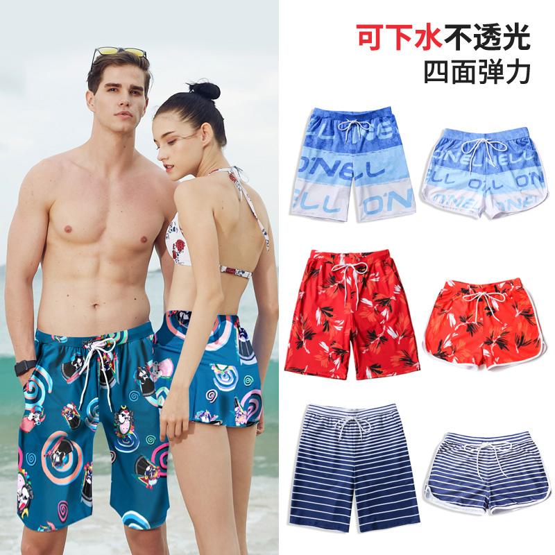 情侣短裤沙滩裤男女宽松海边度假五分速干游泳休闲运动沙滩短裤女