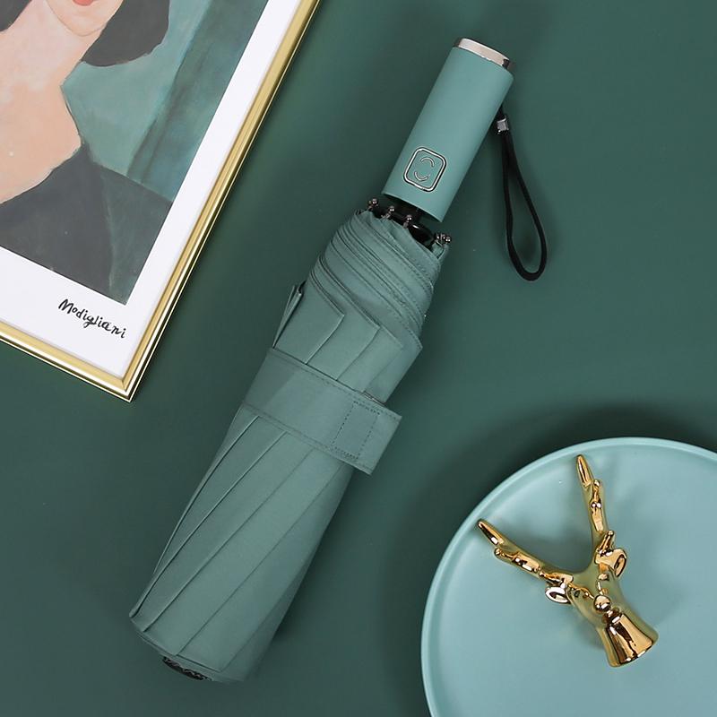 德国全自动雨伞S男女大号遮阳三折叠晴雨两用防晒定制LOGO太阳伞