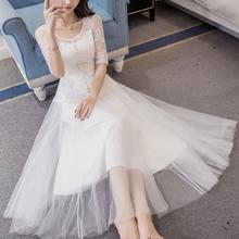 新款女装 气质中长款修身网纱蕾丝连衣裙