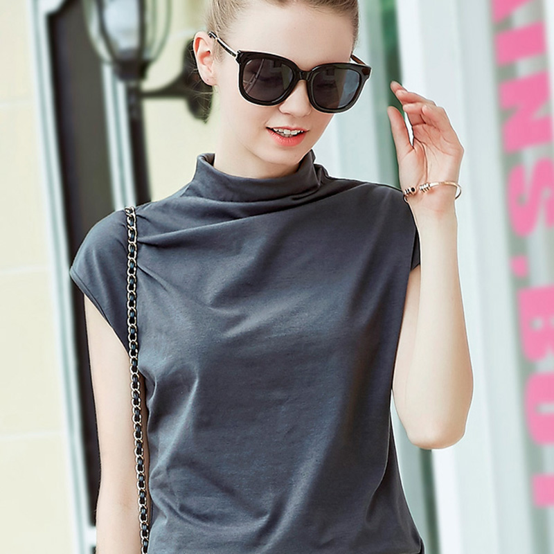 2020 summer new large womens loose and thin high collar sleeveless T-shirt vest womens solid color base coat
