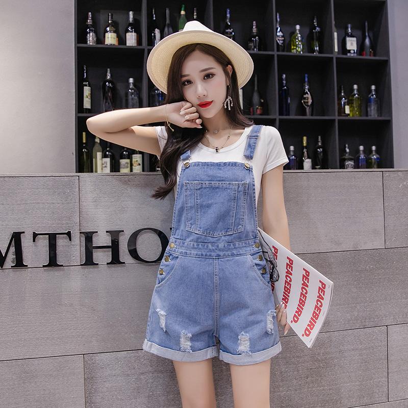 减龄高腰吊带连体裤韩版抖音同款牛仔背带短裤女潮流夏新款时尚