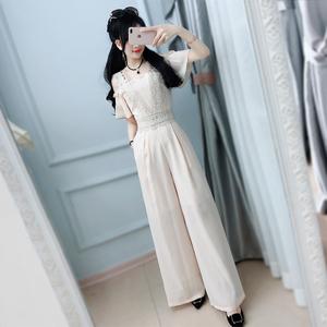 七七之缘夏装新款女装 米色蕾丝肩带露肩修身雪纺连体裤长裤