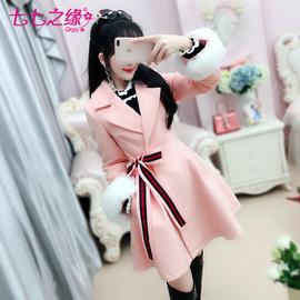 七七之缘冬装新款女装 粉色侧腰带蝴蝶结显瘦毛呢外套大衣