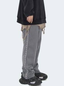 INSstudios.19韩国自制复古拼接刺绣青灰宽松西装裤休闲西裤男女