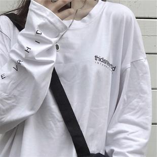 INSstudios.2020韓國ins復古簡約百搭字母印花打底長袖T恤男女潮
