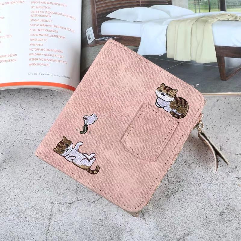 ins卡包钱包一体女短款学生韩版可爱简约超薄拉链搭扣折叠零钱夹