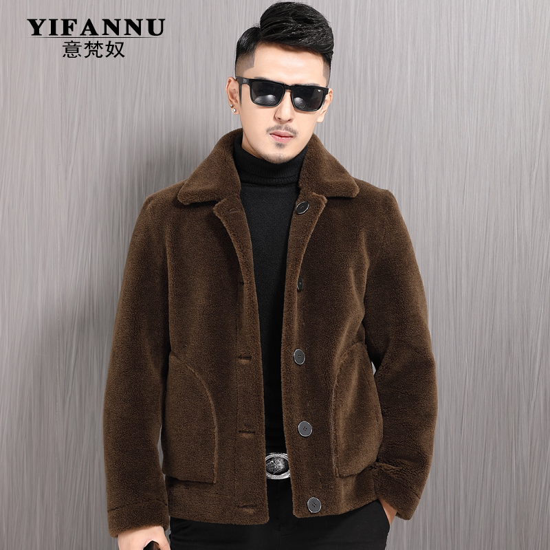 Granular lamb wool with sheep shearing on both sides, men's leather and fur in one short jacket jacket Korean Chaodong