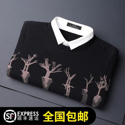衬衫领假两件毛衣男士潮流春秋季薄款外穿外套 帅气针织衫打底衫