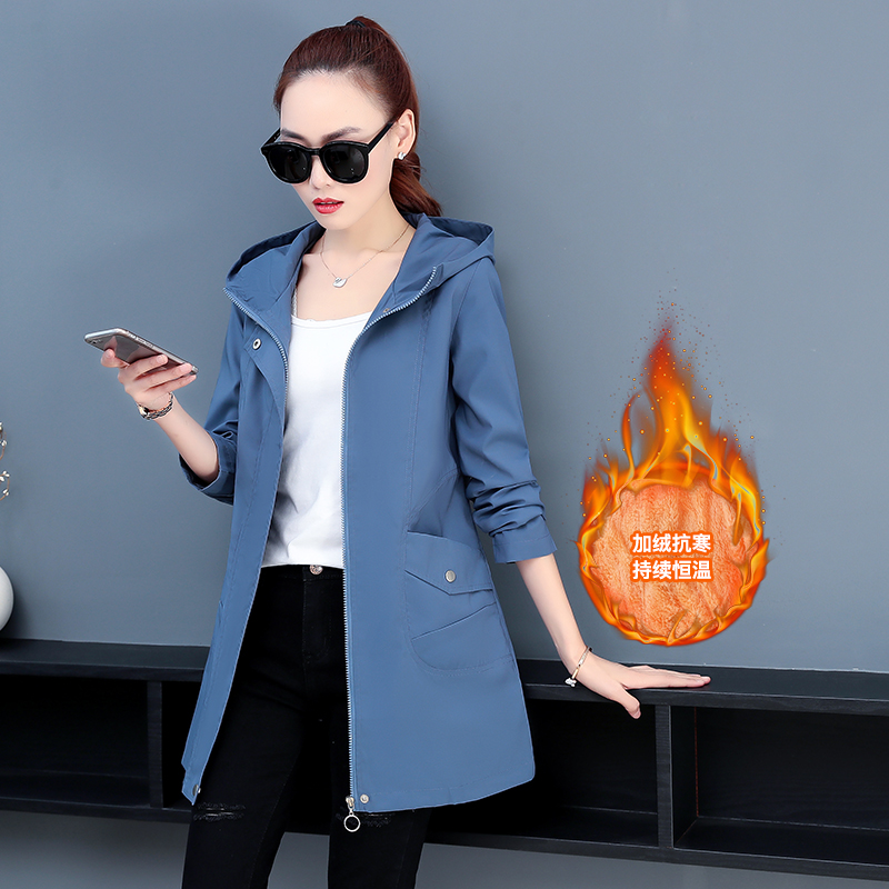 Large womens windbreaker womens fat mm loose and thin medium and long thick coat