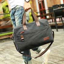 KCE复古帆布男包手提包大容量旅行袋男士单肩包电脑包潮流斜挎包