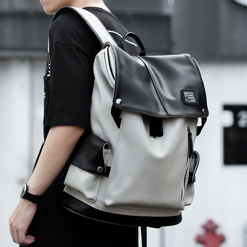 日系休闲双肩包男背包时尚潮流大容量旅行包大学生书包电脑包男包