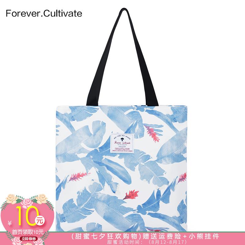Forever cultivate印花帆布包 女学生单肩手提袋韩国文艺简约百搭