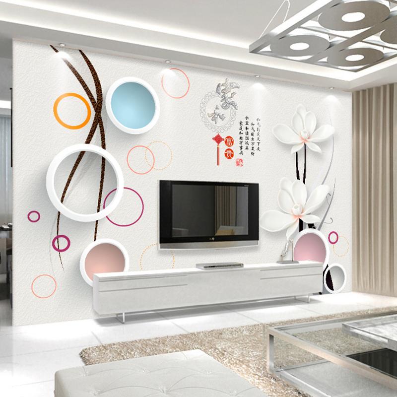 现代简约客厅电视背景墙壁画3D立体壁纸自粘沙发卧室墙纸影视墙布