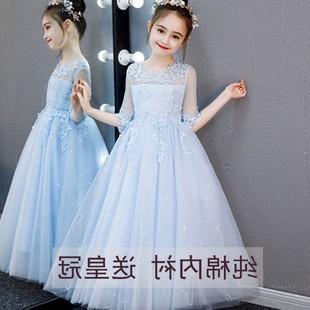 小花童婚纱裙女童公主裙主持人礼服女孩钢琴演出服儿童表演蓬蓬裙