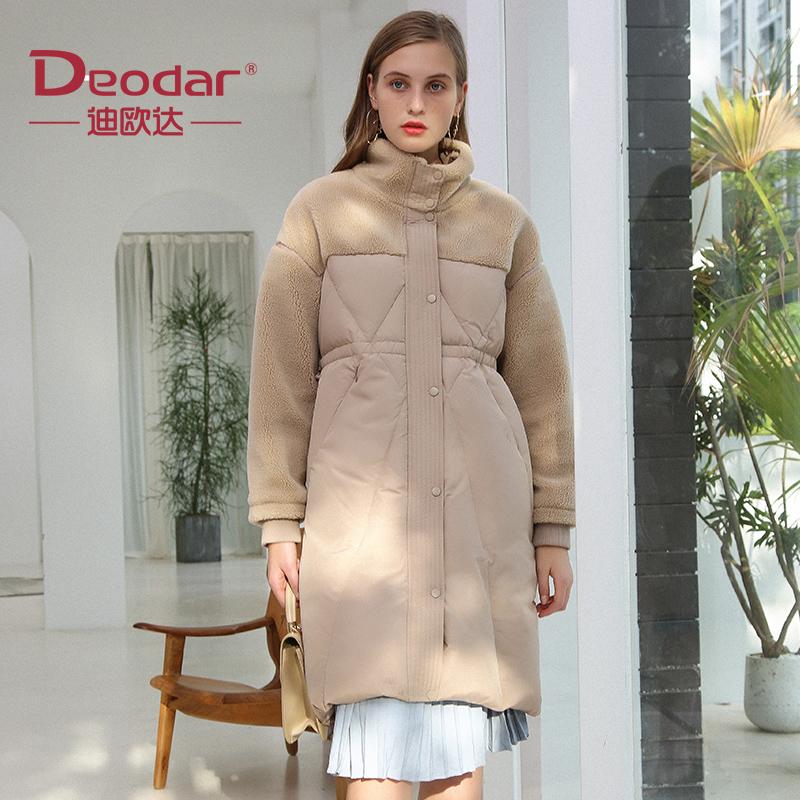 迪欧达19秋冬新品女款中长颗粒绒拼接羽绒服女士保暖外套DX9120