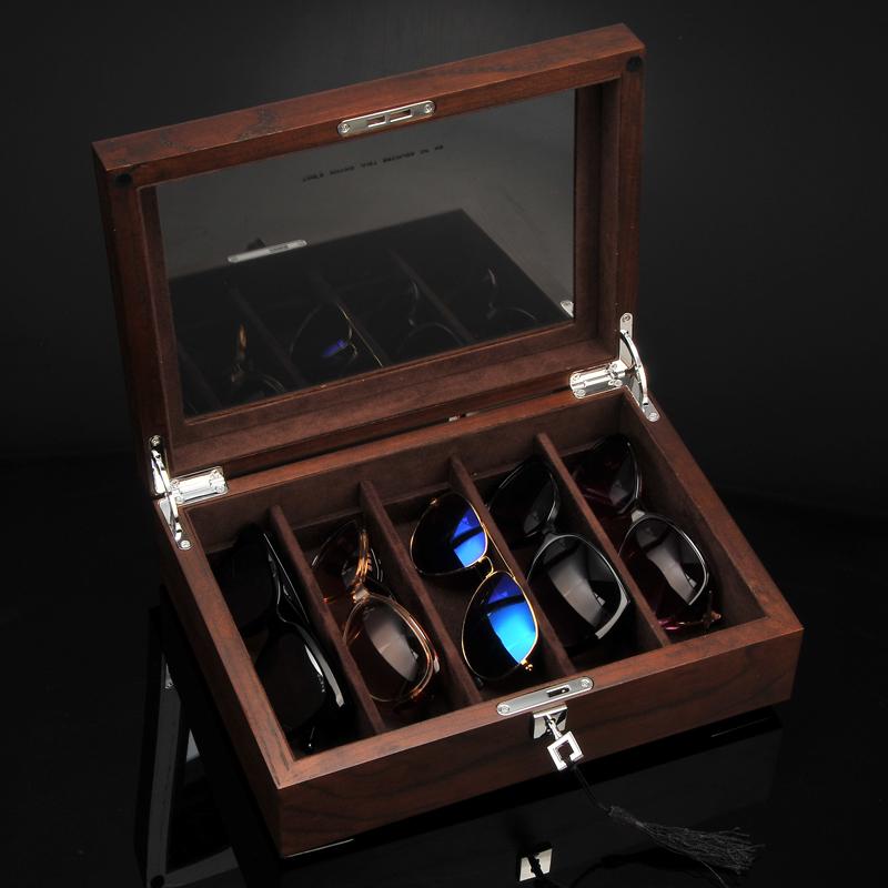 俪丽榆木纯实木眼镜盒墨镜太阳镜收纳盒金条收藏盒核桃首饰收藏盒