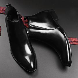 VQGT冬季男士高帮皮鞋英伦尖头皮靴真皮男靴短靴拉链马丁靴子加绒