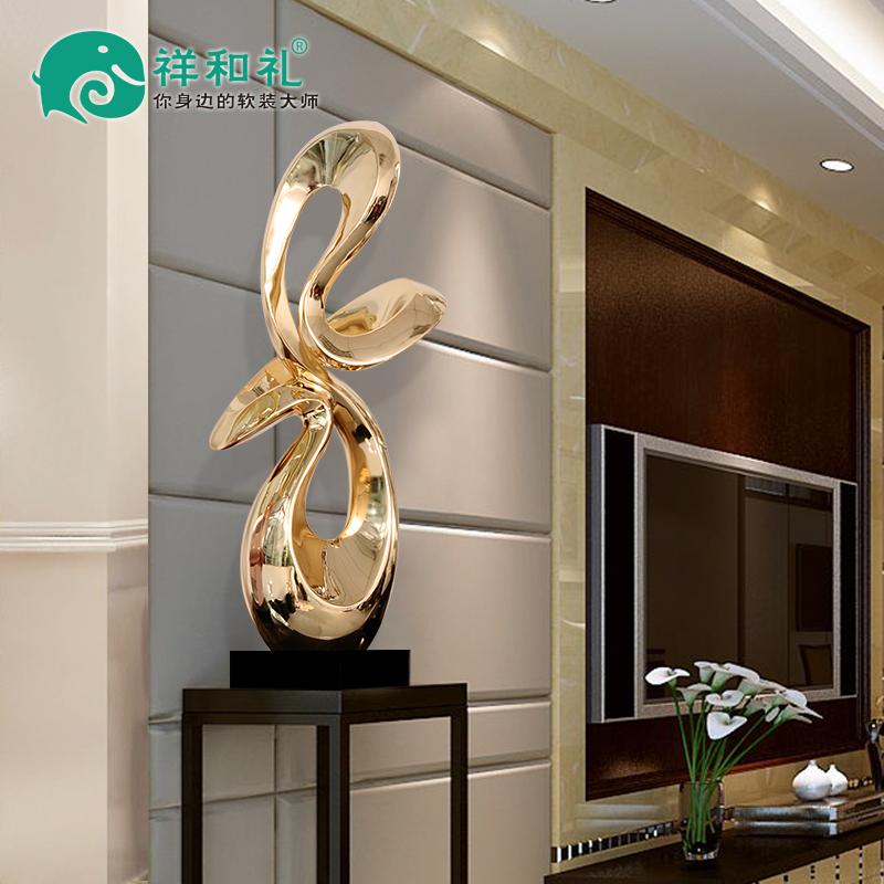 样板房大型艺术摆设树脂电镀玄关摆件酒店大堂会所过道软装工艺品