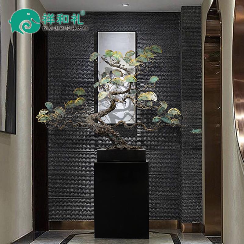 财运版铁艺迎客松树新中式客厅玄关禅意软装饰品酒店落地雕塑摆件