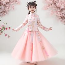 女童汉服2020春装新款春秋公主裙儿童春款童装裙子洋气套装连衣裙