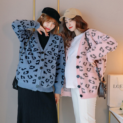 Maternity autumn leopard print knitted cardigan outer wear fashion 2021 new Korean casual spring and autumn warm short jacket