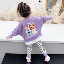 女宝宝网红春装2021新款春秋韩版儿童卡通两件套小童童装女童套装