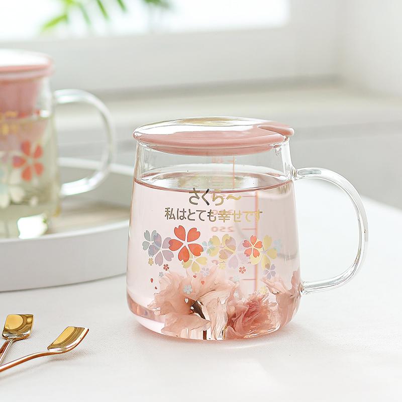 日系樱花杯子耐热玻璃水杯带刻度马克杯办公室女用花茶杯子带盖勺