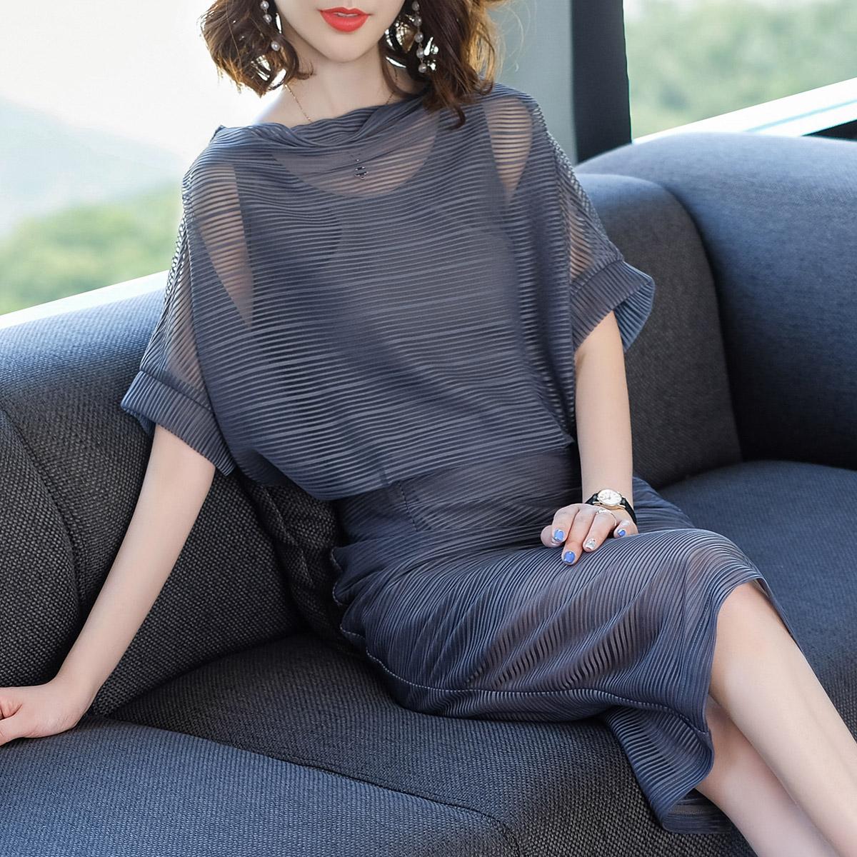 衣千亿2018夏季新款条纹连衣裙女中长款一字领蝙蝠袖修身包臀女装