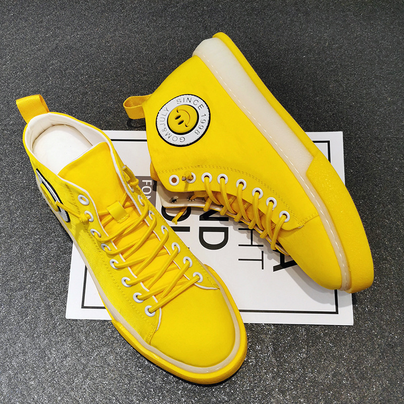 2020 mens shoes summer breathable ice silk shoes high top cloth shoes yellow fashion mens shoes Korean Trend canvas shoes