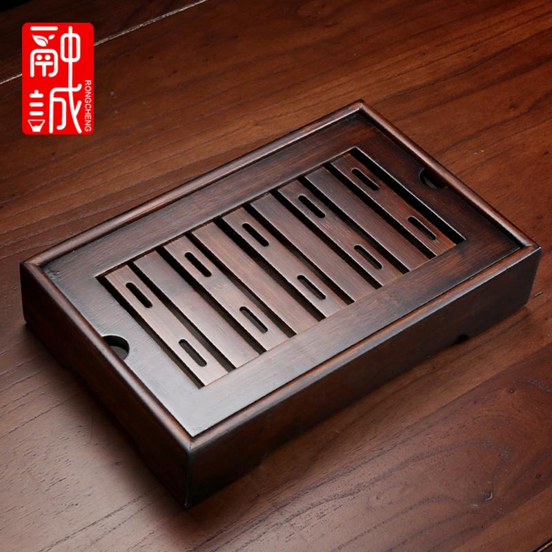 竹制茶盘家用简易竹托盘功夫茶具沥水长干泡盘小型储水式茶海茶台图片