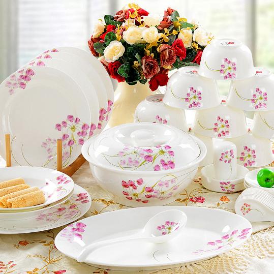 餐具套裝56頭骨瓷碗碟景德鎮陶瓷器韓式碗具盤子喬遷送 結婚慶