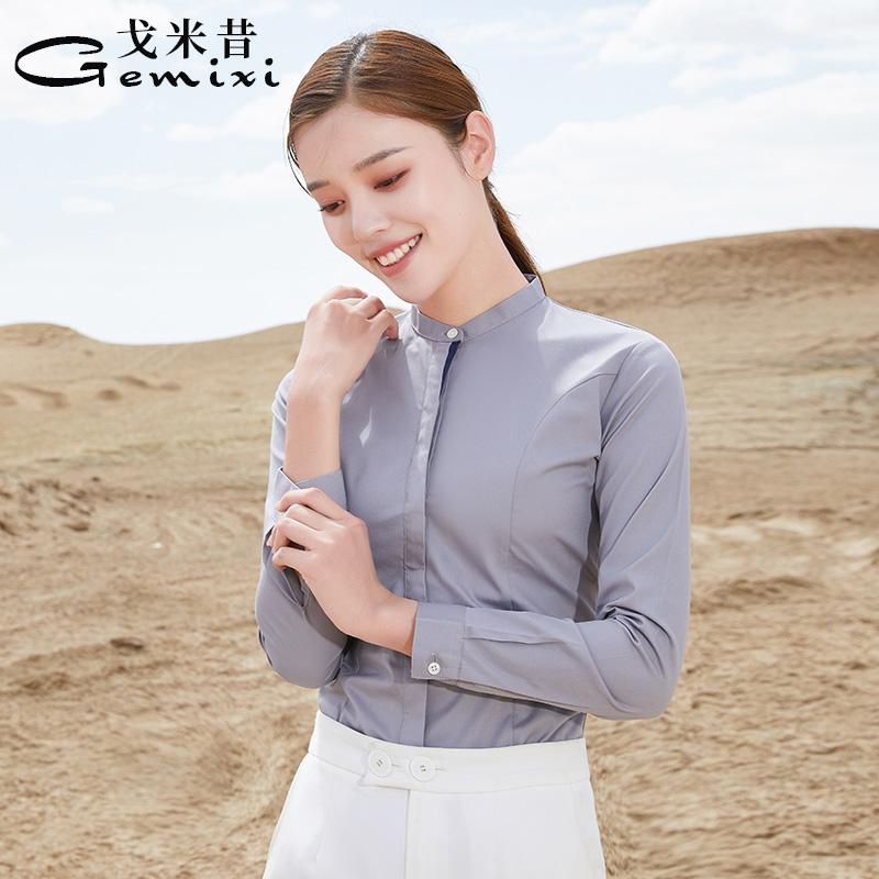 戈米昔灰色衬衫女长袖职业立领小众设计韩版2021春秋新款工装衬衣