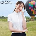 圆领女短袖职业气质2021夏季白衬衫