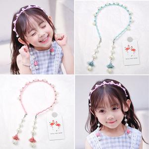 韩版儿童发饰发卡发箍女童珍珠流苏带耳环头箍可爱宝宝公主发饰品