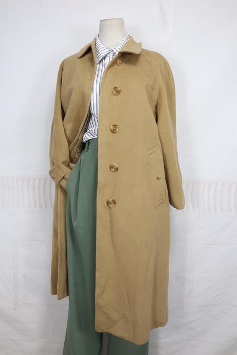 Japanese B-word womens winter slim fitting cashmere blended medium and long overcoat