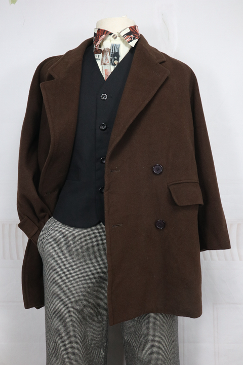 Japanese mens loose and popular winter cashmere blended leisure silhouette coat