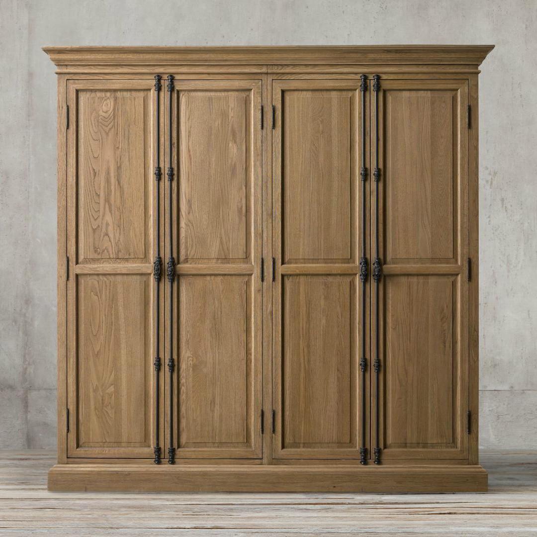 (用500元券)美式乡村四门复古做旧欧式实木衣柜