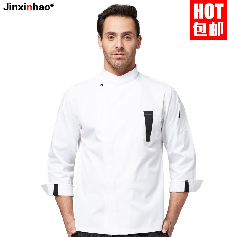 白色厨师长厨师工作服男长袖秋冬装饭店酒店西餐厅主厨法式厨师服