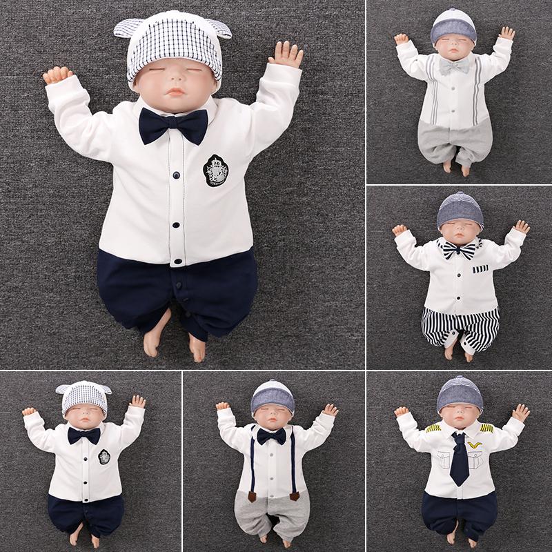 依尔婴 婴儿连体衣宝宝春秋新生儿衣服满月百天周岁礼服男爬服