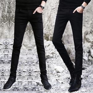 春季黑色牛仔裤男士韩版修身春秋款小脚裤潮流男装休闲男裤子长裤