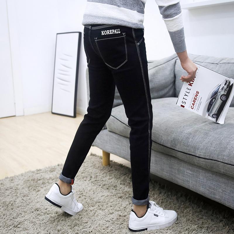 夏季黑色弹力9九分牛仔裤男士韩版修身青少年小脚裤潮男装男裤子