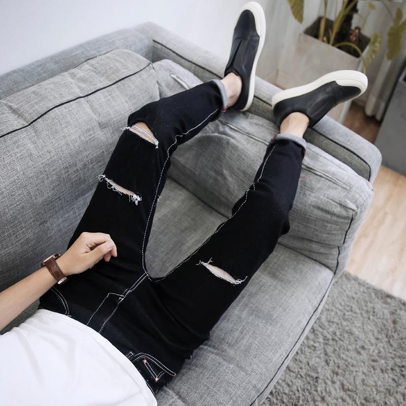 夏季薄款破洞九分牛仔裤男士韩版修身小脚裤潮男装弹力9分男裤子