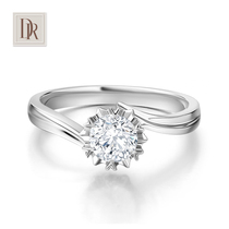 DR darryring Snowflake Genuine 1 carat diamond ring womens white 18K proposal wedding diamond ring